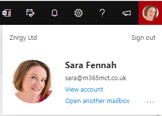 Znrgy Ltd  Sign out  Sara Fennah  sara@m365mct.co.uk  View account  Open another mailbox