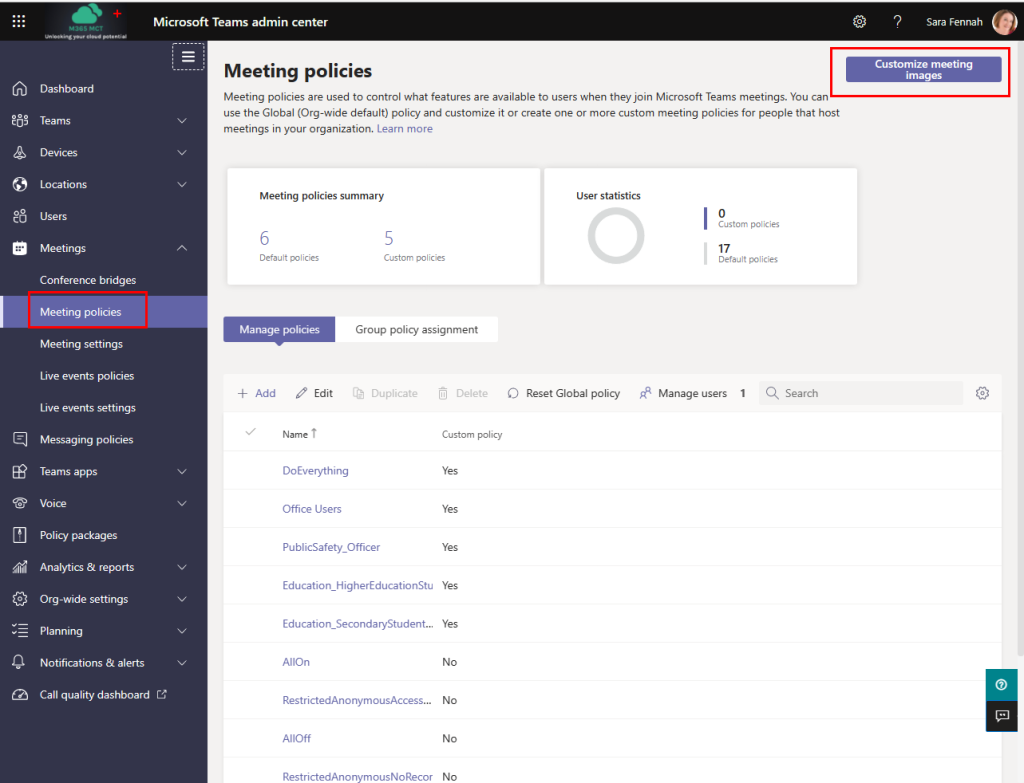 Image showing Teams Admin Center with the meeting policies menu option selected and customize meeting images button highlighted to assist with navigation.