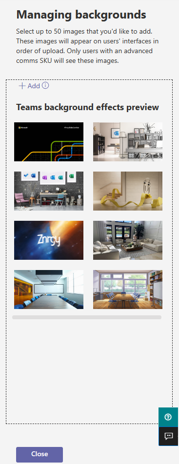 """Image showing the managing backgrounds screen with 6 images added.  The managing backgrounds screen also states """"Select up to 50 images that you'd like to add.  These images will appear on users' interfaces in order of upload.  Only users with an advanced comms SKU will see these images."""""""